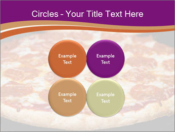 Two pepperoni pizzas in a line on a black stove PowerPoint Template - Slide 38
