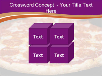 Two pepperoni pizzas in a line on a black stove PowerPoint Template - Slide 39