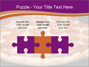 Two pepperoni pizzas in a line on a black stove PowerPoint Template - Slide 42
