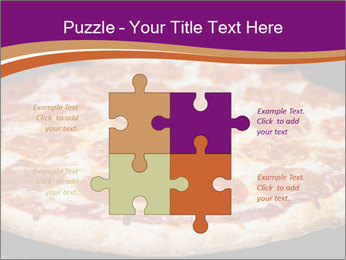 Two pepperoni pizzas in a line on a black stove PowerPoint Template - Slide 43