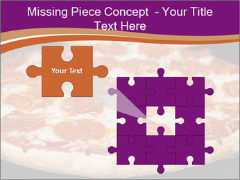 Two pepperoni pizzas in a line on a black stove PowerPoint Template - Slide 45