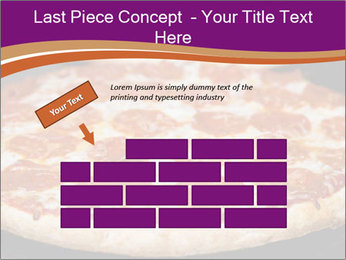 Two pepperoni pizzas in a line on a black stove PowerPoint Template - Slide 46