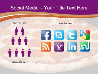 Two pepperoni pizzas in a line on a black stove PowerPoint Template - Slide 5