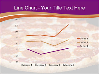 Two pepperoni pizzas in a line on a black stove PowerPoint Template - Slide 54