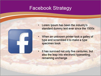 Two pepperoni pizzas in a line on a black stove PowerPoint Template - Slide 6