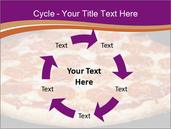 Two pepperoni pizzas in a line on a black stove PowerPoint Template - Slide 62