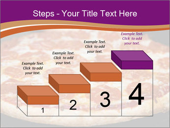 Two pepperoni pizzas in a line on a black stove PowerPoint Template - Slide 64