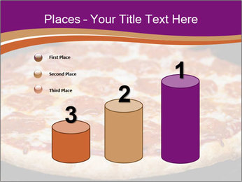 Two pepperoni pizzas in a line on a black stove PowerPoint Template - Slide 65