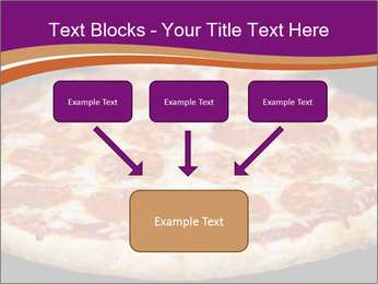 Two pepperoni pizzas in a line on a black stove PowerPoint Template - Slide 70