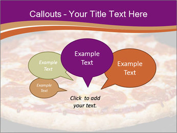 Two pepperoni pizzas in a line on a black stove PowerPoint Template - Slide 73
