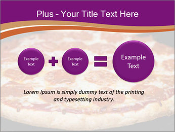 Two pepperoni pizzas in a line on a black stove PowerPoint Template - Slide 75