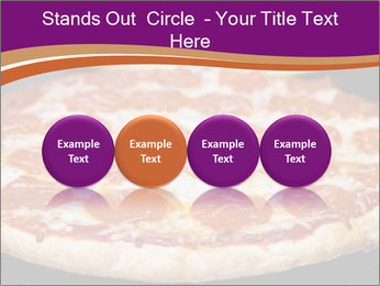 Two pepperoni pizzas in a line on a black stove PowerPoint Template - Slide 76