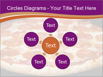 Two pepperoni pizzas in a line on a black stove PowerPoint Template - Slide 78