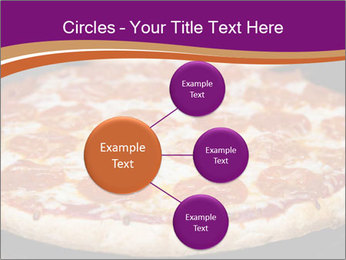 Two pepperoni pizzas in a line on a black stove PowerPoint Template - Slide 79