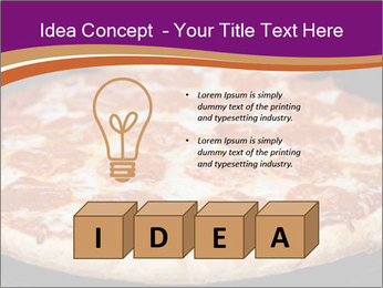 Two pepperoni pizzas in a line on a black stove PowerPoint Template - Slide 80