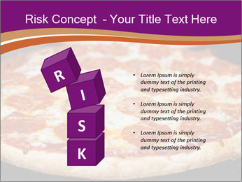 Two pepperoni pizzas in a line on a black stove PowerPoint Template - Slide 81