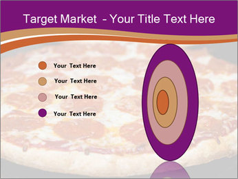 Two pepperoni pizzas in a line on a black stove PowerPoint Template - Slide 84