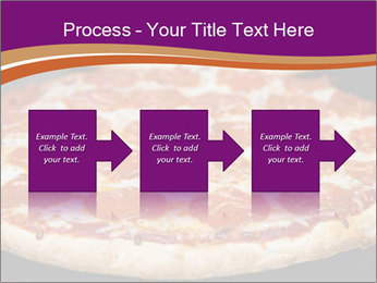 Two pepperoni pizzas in a line on a black stove PowerPoint Template - Slide 88