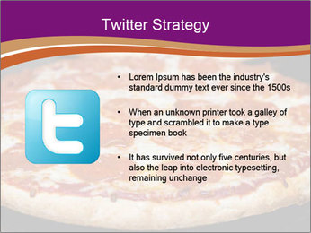 Two pepperoni pizzas in a line on a black stove PowerPoint Template - Slide 9