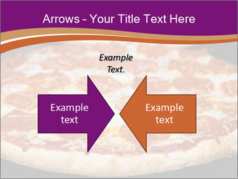 Two pepperoni pizzas in a line on a black stove PowerPoint Template - Slide 90
