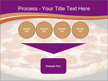 Two pepperoni pizzas in a line on a black stove PowerPoint Template - Slide 93