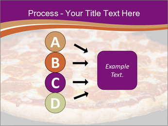 Two pepperoni pizzas in a line on a black stove PowerPoint Template - Slide 94