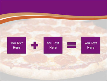 Two pepperoni pizzas in a line on a black stove PowerPoint Template - Slide 95