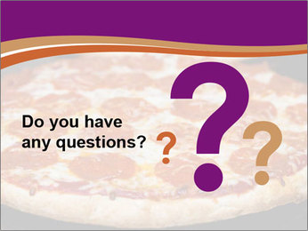 Two pepperoni pizzas in a line on a black stove PowerPoint Template - Slide 96