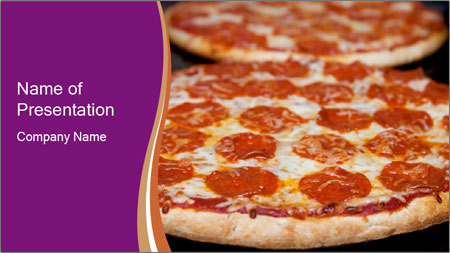 Two pepperoni pizzas in a line on a black stove PowerPoint Template