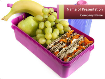 Healthy lunch in a bright pink lunch box PowerPoint Template - Slide 1