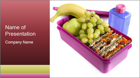 Healthy lunch in a bright pink lunch box PowerPoint Template