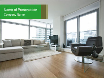 Contemporary living room with designer furniture PowerPoint Template - Slide 1