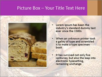 Assortment of baked bread on wood table PowerPoint Template - Slide 13