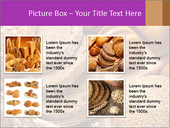 Assortment of baked bread on wood table PowerPoint Template - Slide 14