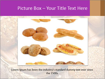 Assortment of baked bread on wood table PowerPoint Template - Slide 15