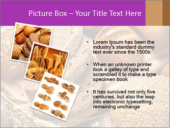 Assortment of baked bread on wood table PowerPoint Template - Slide 17