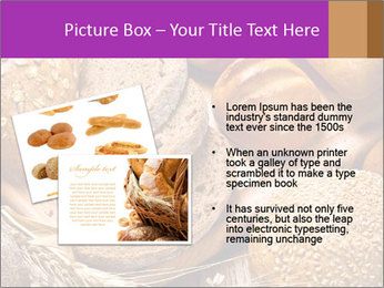 Assortment of baked bread on wood table PowerPoint Template - Slide 20