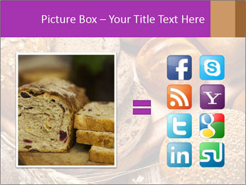 Assortment of baked bread on wood table PowerPoint Template - Slide 21