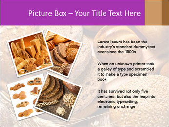 Assortment of baked bread on wood table PowerPoint Template - Slide 23