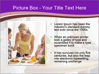 Family eating dinner at round table, in kitchen PowerPoint Templates - Slide 13