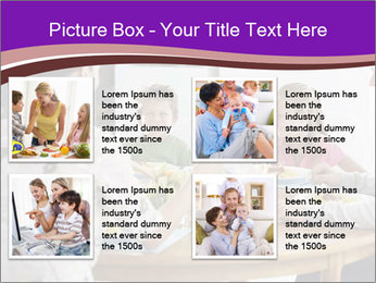 Family eating dinner at round table, in kitchen PowerPoint Templates - Slide 14