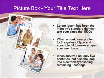 Family eating dinner at round table, in kitchen PowerPoint Templates - Slide 17