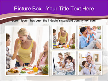 Family eating dinner at round table, in kitchen PowerPoint Templates - Slide 19