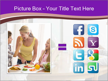 Family eating dinner at round table, in kitchen PowerPoint Templates - Slide 21