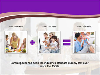 Family eating dinner at round table, in kitchen PowerPoint Templates - Slide 22