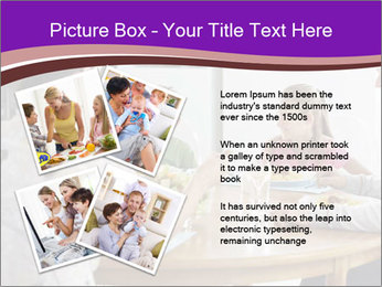 Family eating dinner at round table, in kitchen PowerPoint Templates - Slide 23