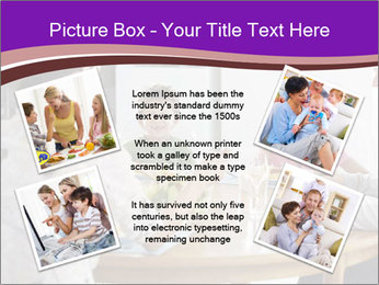 Family eating dinner at round table, in kitchen PowerPoint Templates - Slide 24
