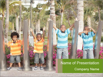 Four brothers in the park PowerPoint Template - Slide 1