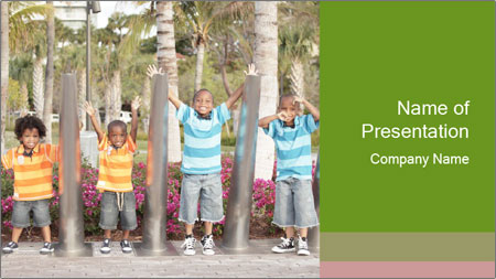 Four brothers in the park PowerPoint Template