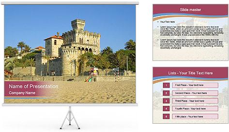 Estoril castle near Lisbon, Portugal PowerPoint Template